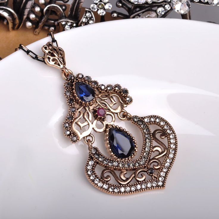 Brand Turkish Jewelry Vintage Women Big Pendants Blue Water Drop Stones Long Necklaces For Party Dresses Sweater Acrylic Bijoux