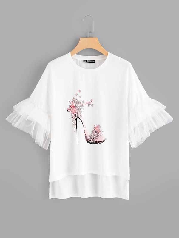 High Heeled Shoes Print Bell Sleeve Tee Shein Sheinside Clothes For Women Diy Shirt Sleeves Tees