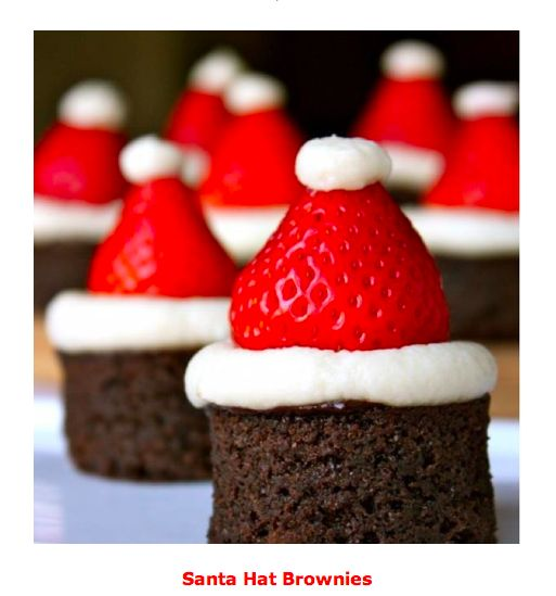 Santa Hat Brownies - quick and easy dessert idea