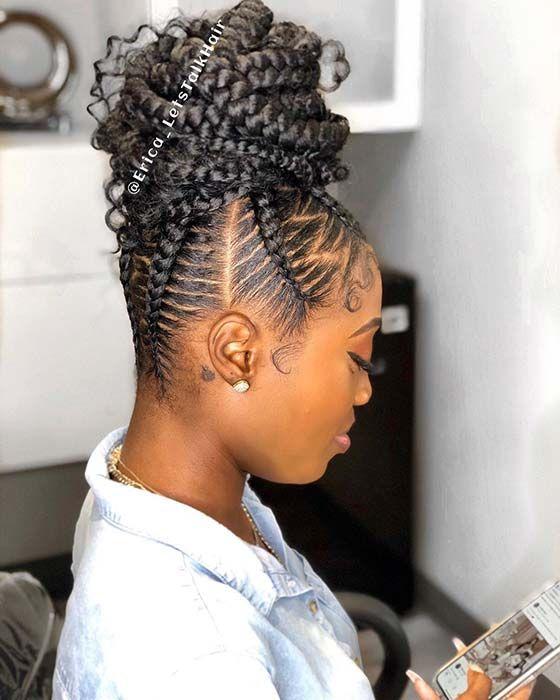 23 Braided Bun Hairstyles For Black Hair Stayglam Braided Bun Hairstyles Natural Hair Styles African Braids Hairstyles