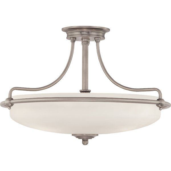 Enhance your room's interior with the gorgeous Brayden Studio 3 Light Helsley Semi Flush Mount. This flush mount is constructed from sturdy metal and glass for reliability. It has a white opal etched glass shade that looks beautiful in any room. The semi flush mount light is available in various finishes to choose from. It works on 120 volts and accommodates three 100W medium base incandescent bulbs that are not included. The contemporary flush mount is ideal to be fixed in the living room…
