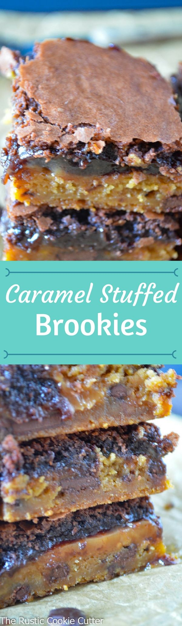 I wanted bigger! And decided a layer of caramel was just the thing!Caramel Stuffed Brookies were A-MAZ-ING! #homemade #bars #caramel #brookies
