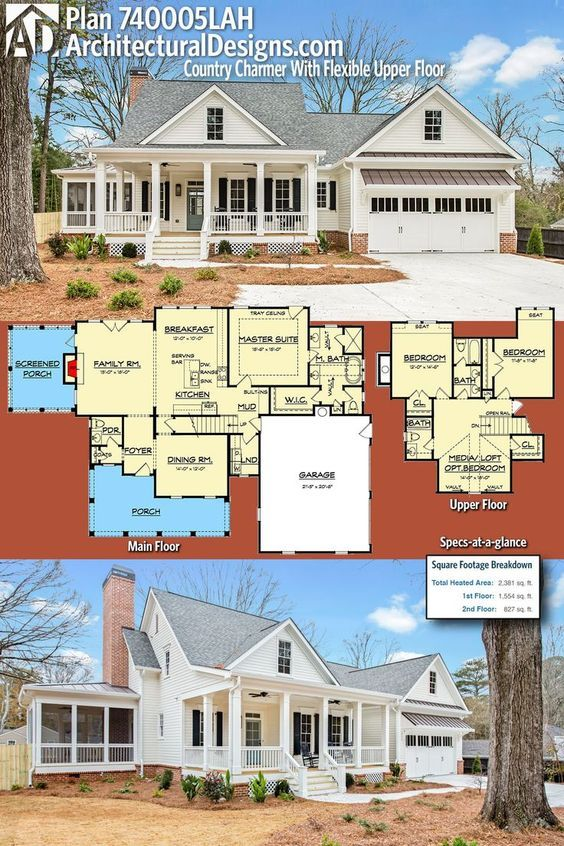Plan 740005lah Country Charmer With Flexible Upper Floor House Plans Farmhouse House Plans New House Plans