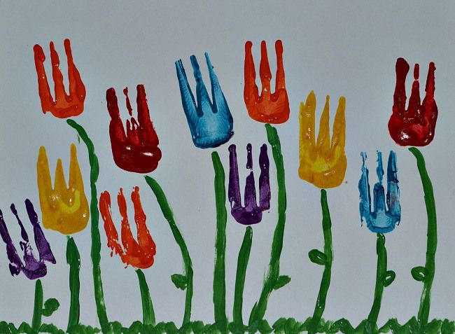 Spring Art: Tulip Painting using a fork, paint, and brushes.