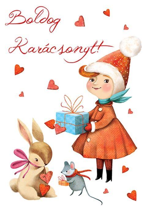 Boldog Karácsonyt! - Képeslap borítékkal (A/6), Naptár, képeslap, album, Dekoráció, Képeslap, levélpapír, Karácsonyi, adventi apróságok, Meska