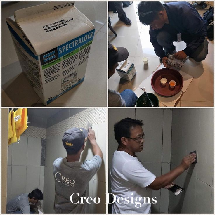 Thank you to @laticreteph for assisting us in applying Spectralock Pro grout for the first time. Our foreman also tried it out himself so he can train our other workers for future projects.  Our clients bathroom grout stains easily & already cracking after just a few months. Now it is stain crack & mould proof. Problem solved!  #creodesignsph #interiordesign #interiofitout #interiordesignph #constructionworker #contractorph #problemsolved #problemsolver #problemsolving #laticretephilippines…