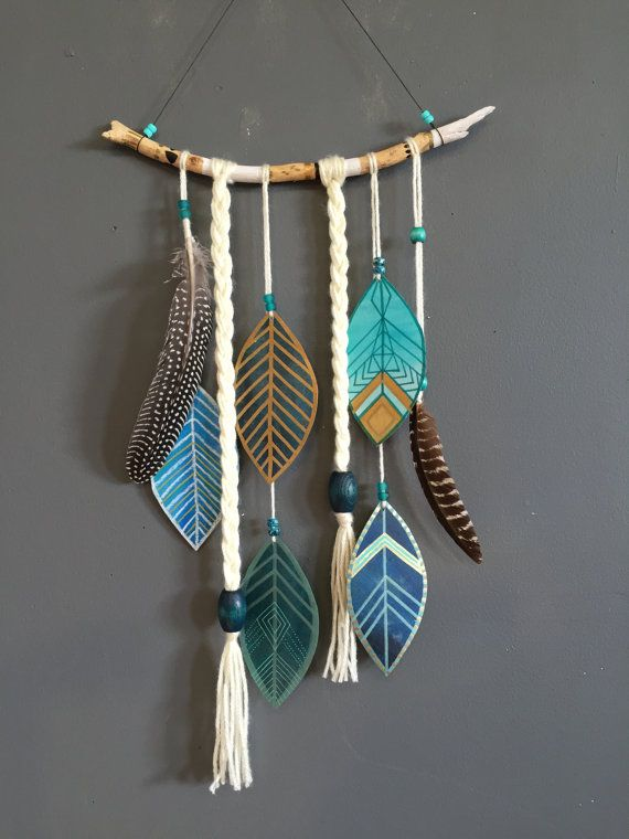Painted Indigo Feather Wall Hanging : Free Shipping