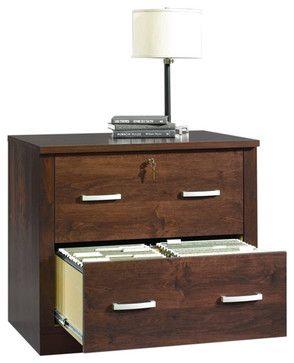 Sauder Office Port File Cabinet in Dark Alder - transitional - filing cabinets and carts - Cymax