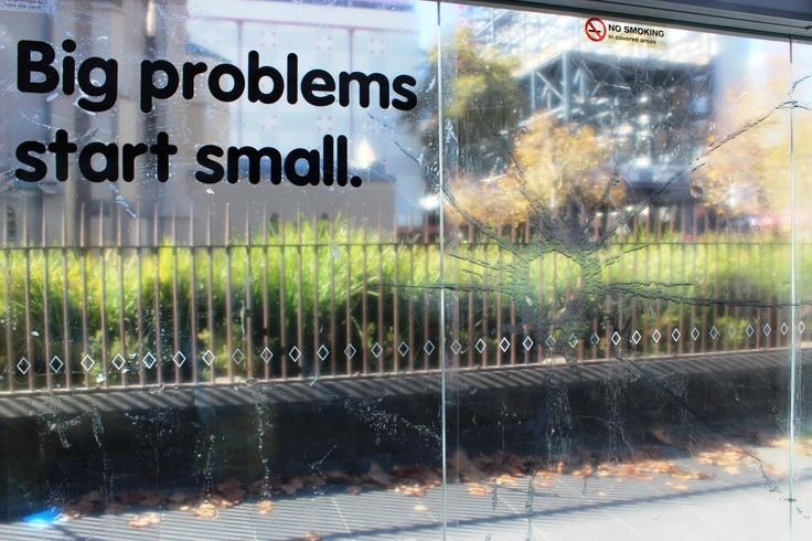 'Big problems start small' - our new outdoor campaign sees a glass crack in bus/tram stops grow larger over time http://www.headspace.org.au/about-headspace/news-videos/news/big-problems-start-small