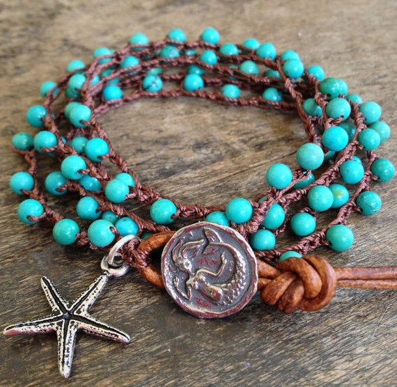 Turquoise Mermaid & Starfish Multi Wrap Bracelet, Anklet, Necklace $38.00 via Etsy