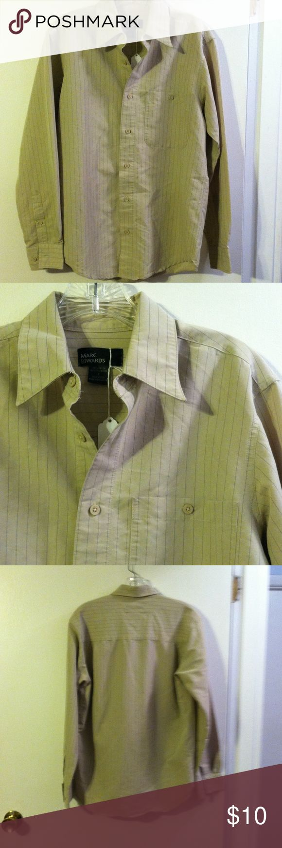 Marc Edwards men's pinstripe  shirt Rayon/poly Marc Edwards Shirts Dress Shirts