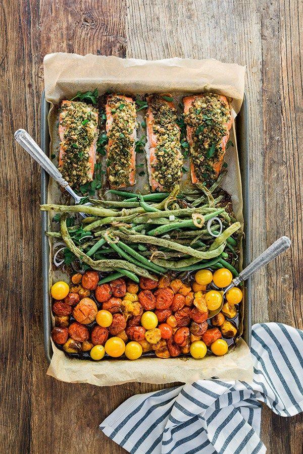 One sheet herb crusted salmon recipe by @waitingonmartha