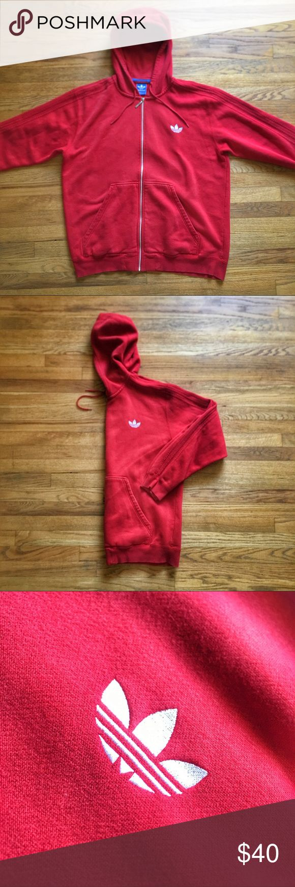 Adidas Big Label Track Zip-up Hoodie PRICE IS FIRM - OFFERS NOT ACCEPTED.  Adidas Big Label Track Zip-up Hoodie.  Size XXL.  Pre-owned in excellent condition.  Big embroidered logo in front.  Colors are red, white and blue.  See something you like but it's not here next week? We sell in store and across multiple platforms, so items go quick! If you're interested, act on it! adidas Sweaters Zip Up