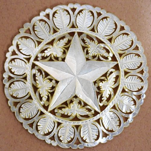"""2-1/2"""" hand-carved Mother-of-Pearl Bethlehem star button"""