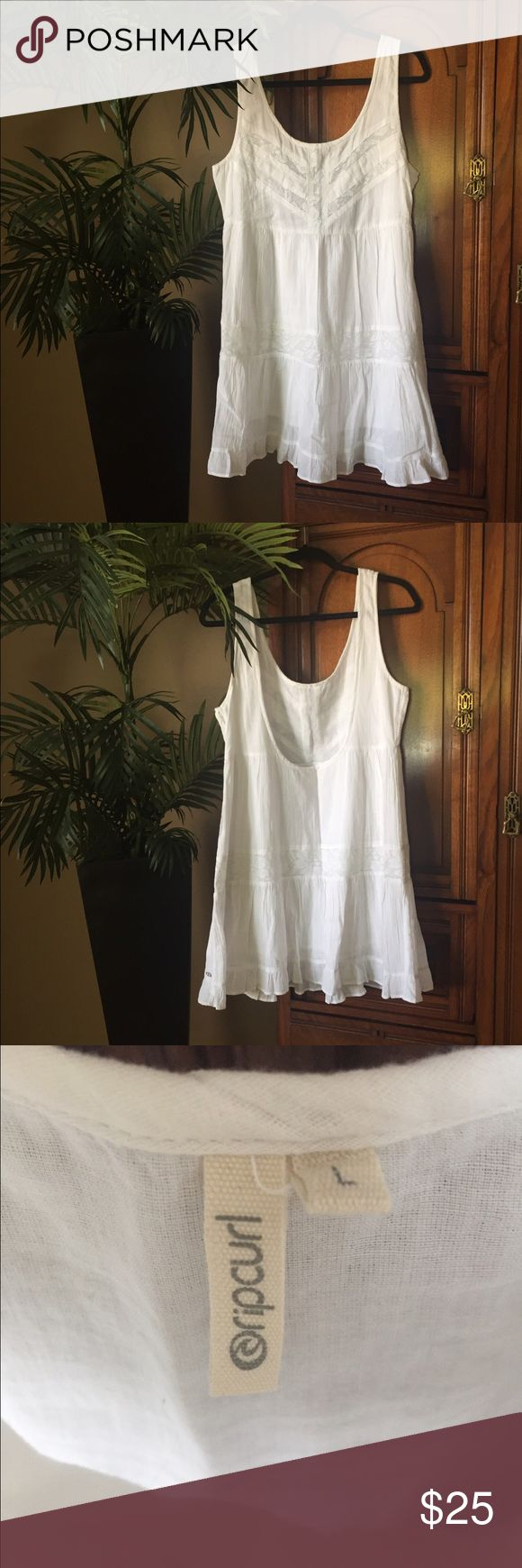 RipCurl Super Cute White Cotton Lace Dress SZ L-XL RipCurl Super Cute White Cotton Lace Dress SZ L-XL RipCurl Dresses