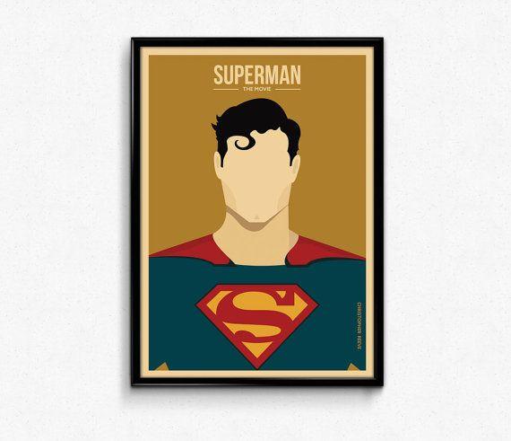Set of 2 #Superman #Movie #Minimalist #Retro #Poster  by #Lotusdesinz #art #character #illustration