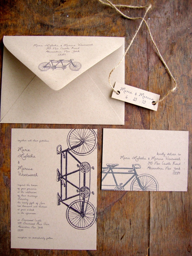Tandem Bike Wedding Invitation, Recycled, Eco Friendly Wedding Invitation, Rustic. $3.75, via Etsy.