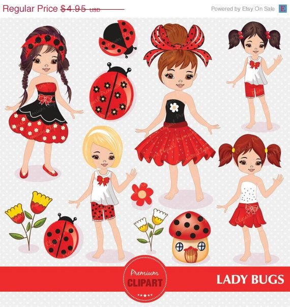 50% OFF SALE Ladybug clipart, Ladybug girl, Ladybug clipart for Digital Scrapbooks, Invitations, Commercial Use - CA105 by PremiumClipart on Etsy