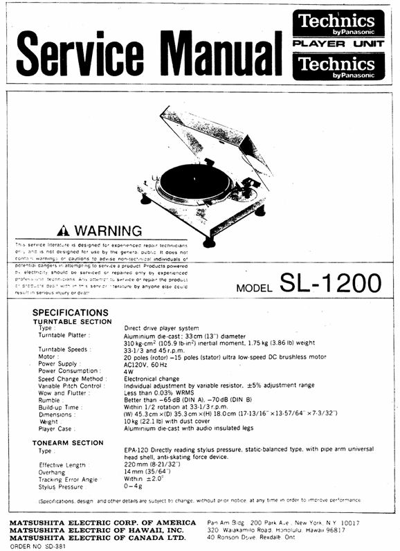 17 Best images about Turntables Service Manuals on ...