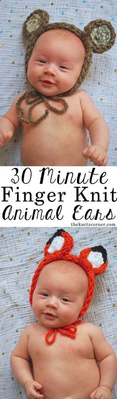 30 minute finger knit animal ears free instructionis | And More Free Arm and Finger Knitting Patterns