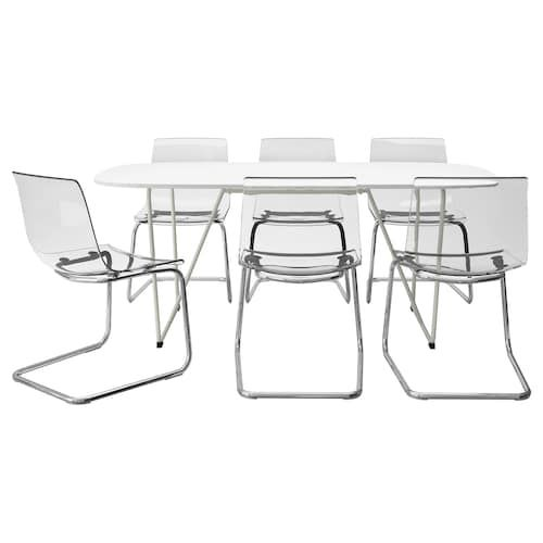 Oppeby Backaryd Tobias Table And 6 Chairs White Chrome Plated Clear Ikea Ikea Dining Sets Ikea Dining Table Set Ikea Dining Table