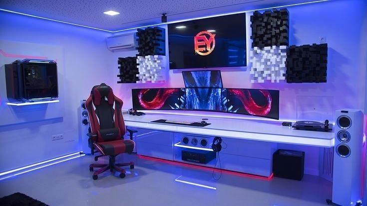 25 Interesting Game Room Ideas For Kids And Family Atahiya Gamer Kamer Game Setup Droomhuis