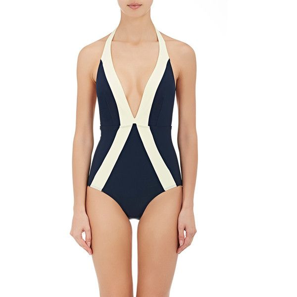 Flagpole Swim Women's Jade One-Piece Swimsuit ($385) ❤ liked on Polyvore featuring swimwear, one-piece swimsuits, deep v neck one piece swimsuits, 1 piece swimsuit, one piece bathing suits, tie-dye bathing suits and colorblock swimsuit