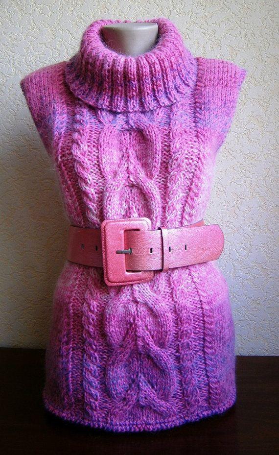 Knitted vest for women Жилет вязаный Фуксия от 2014knitting