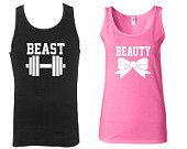 Beast and Beauty Tank top.Training Couple tank top.Work out together.Gym.Fitness.Train.Beauty.Cute couple tank top. Beast