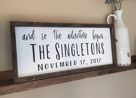 Wall Decor Kids Room Wedding Gift Wooden Sign Housewarming Gift Adventure Sign Kitchen Decor And So The Adventure Begins