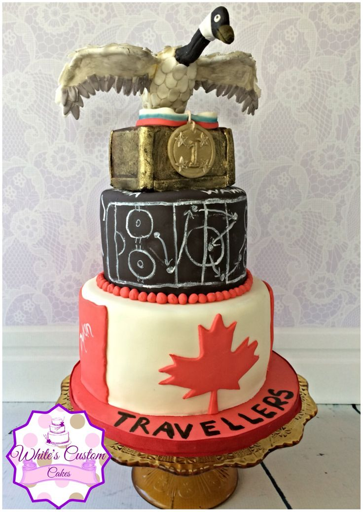 Cake I made for my sons end of the year team dinner.. Chalkboard hockey game plan, Canada flag, and a giant goose!  (We have huge steel geese in our small home town).  Goose is fondant with wires for the neck and wing support.