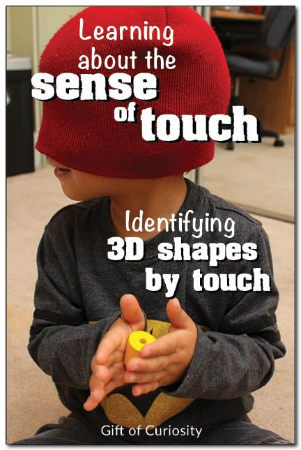 Have kids identify 3D shapes while blindfolded.