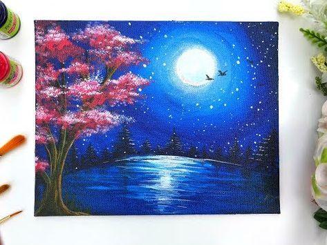 Moonlight Night Landscape Painting Diy Masking Technique For Beginners Youtube Easy Landscape Paintings Landscape Paintings Abstract Painting