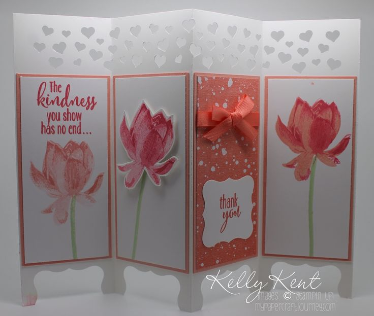 Sale-A-Bration Workshop - Lotus Blossom Screen Card.  Kelly Kent - mypapercraftjourney.com.