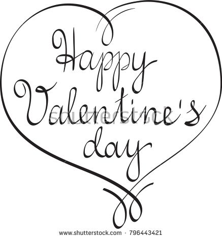 Happy Valentines Day Hand Lettering In Heart Shaped Frame Hand