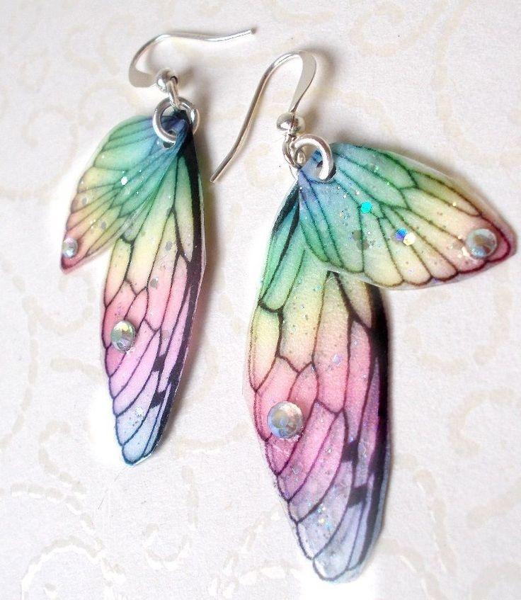 Regenbogen Feenflügel Ohrringe-/Elfe Glitter Glitzer bunt Schmetterling pastell