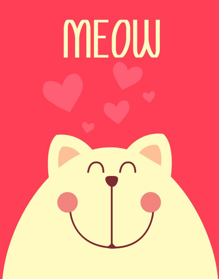 Cute vector postcard with smiling cat