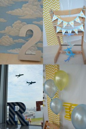 飛行機が大好き!窓にも部屋のあちこちに飛行機と空の世界を演出! 2 歳のバースデーパーティーアイデア♪