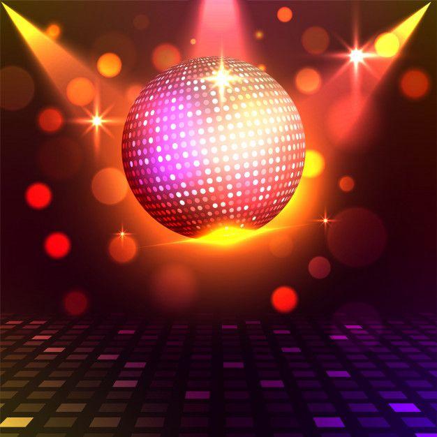 Boule Disco Dore Brillant Sur Fond De Lumieres Colorees Brillantes Concept De Nuit Disco Boule Disco Disco Lumiere