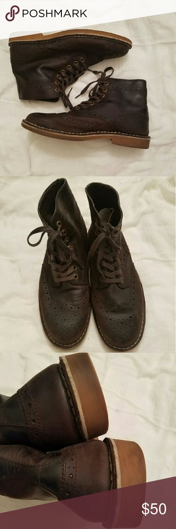Aldo Size 42 mens brogue boots Brown Mens size 42 (size 9) ALDO shoe brogue style lace up boots preowned in great condition. Aldo Shoes Boots