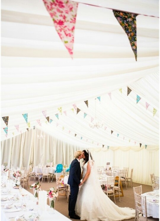 Love the flags in teal and coral.