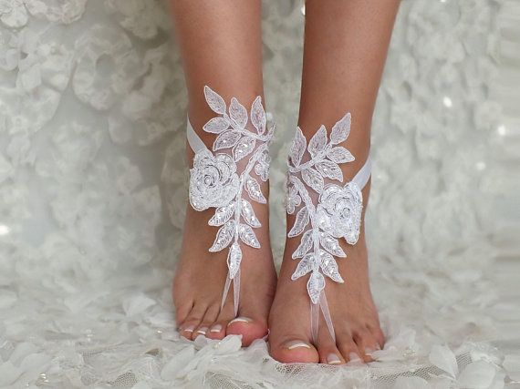 c3124415e9288 Beach Weddings Lace Barefoot Sandals Bridesmaids Gift Bridal ...