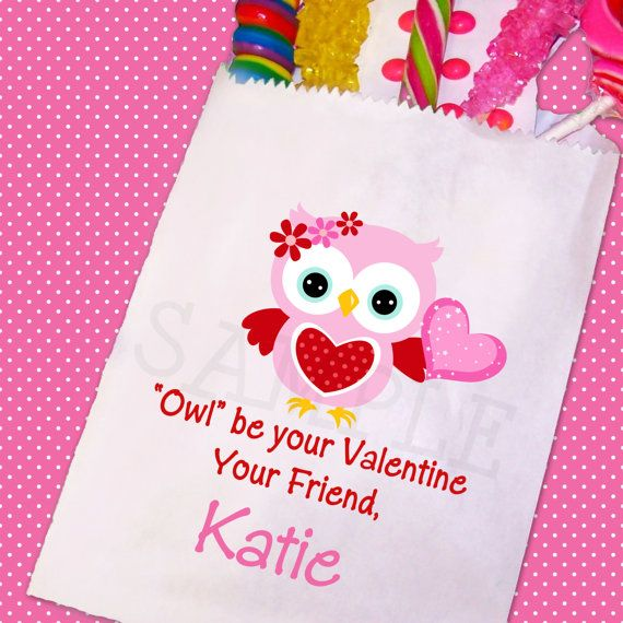Owl Valentine Day Candy Bags Valentines Day by TheTrendyButterfly,