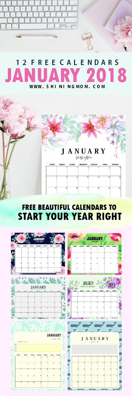 Print this amazing set of free printable January 2018 calendar! There are 12 calendar planners to choose from! #calendar #planner #2018 #January #freecalendar #printablecalendar