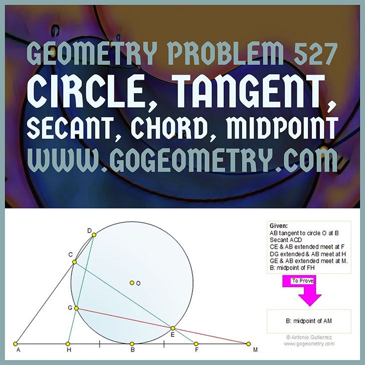 Art and Typography of Geometry Problem 527: Circle, Tangent, Secant, Chord, Midpoint, Measurement, iPad Apps