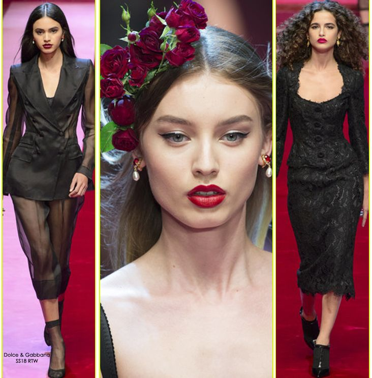 Transparent sheer black numbers coupled with black lace and structured corseted silhouettes at Dolce&Gabbana's SS18 showcased at Milan Fashion Week - SHOP DOLCE&GABBANA's LATEST ARRIVALS at STILORAMA.COM