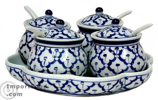 ImportFood.com handpainted Thai ceramic condiment set