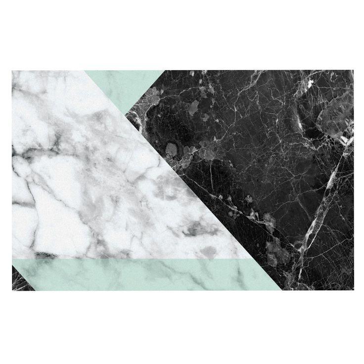 "KESS Original ""Geo Marble and Mint"" Black Art Deco Decorative Door Mat"