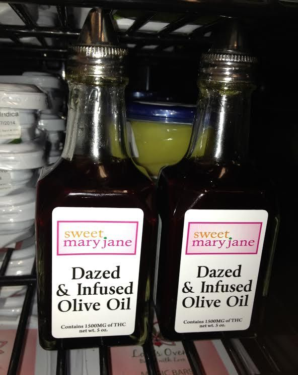Sweet Mary Jane's Dazed & Infused Olive Oil  Use this 1500 mg cannabis infused THC olive oil for salad dressing, in pasta salads, or drizzle it into your cooking pan instead of butter or regular oil  It will enhance any meal   $70