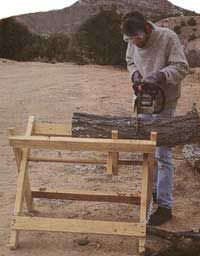 Build a folding sawbuck for easy log cutting and storing, this folding sawbuck will help to make cutting firewood an easier chore.